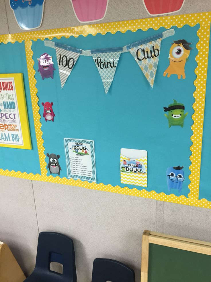 Class dojo 100 point Club display. Rewards listed. Once student earns 100 points, their name is placed on the board and will have a party at the end of the six weeks. Mrs. Kondo's Class.