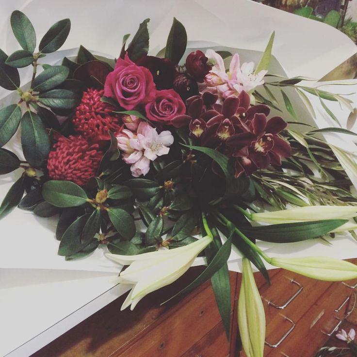Romance Bouquet | Roses | Waratahs | Orchid | Lilies | Dunedin, NZ |  www.estelleflowers.co.nz