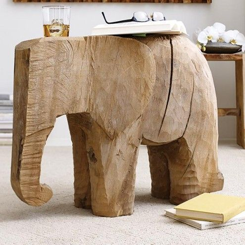 Lucky the Elephant Carved Side Table | VivaTerra