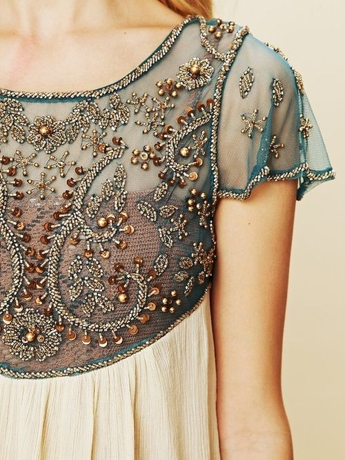 This is the basis of an amazing evening top, jacket, dress or gown. I want a resurgence of hand-made exquisite bead work.