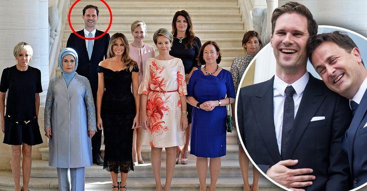El ministro de Luxemburgo y su esposo visitaron la cumbre OTAN, para la foto del recuerdo entre primeras damas, Gauthier Desteney hizo historia posando feliz