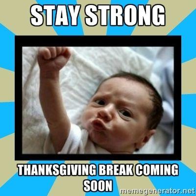 Image result for stay strong thanksgiving break  meme