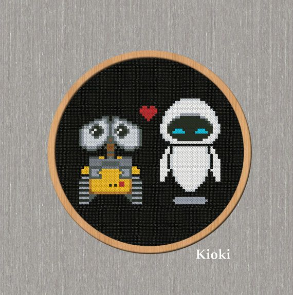 Cross stitch pattern Wall-E and Eve Instant Download by TinyNeedle