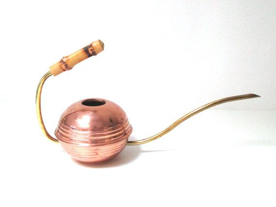 Copper Watering Can with Bamboo Handle Midcentury Modern Style Copper & Brass Flower Gardening Gift Plant Danish Modern Metal 1950s