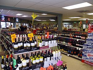 A liquor store in the United States. The global alcoholic beverages industry has exceeded $1 trillion in 2014.