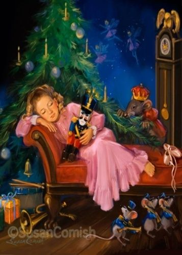 From The Nutcracker::Clara asleep with her nutcracker in hand as the Mouse King peers from behind the tree.:
