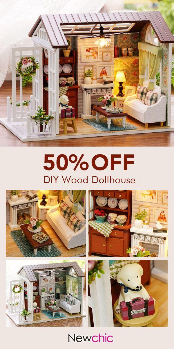 【US $ 25.99】 Happy Times Holz Puppenhaus Miniatur DIY Haus Handwerk Spielzeu…