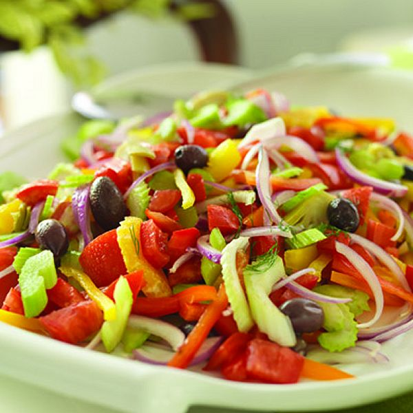 Festive Salad - tomatoes, celery, peppers, onion, artichoke, clementines, olives and a tasty lemon-dill dressing