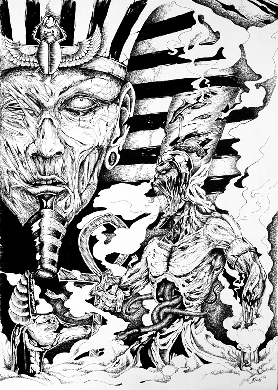 """Dark lines  """"the 2009 calendar project""""    The drawings are made with a combination of a ballpoint pen & ink."""