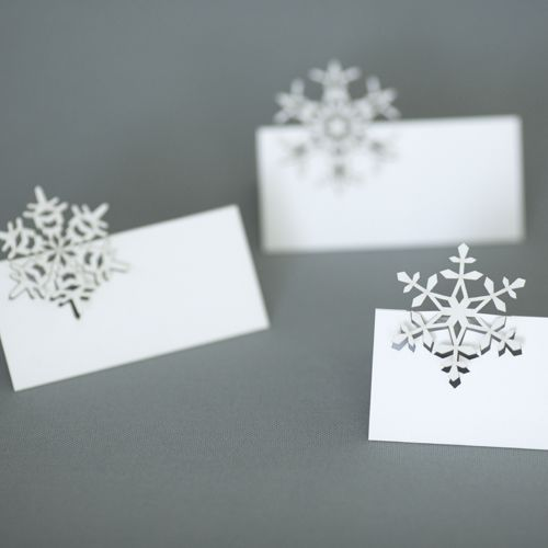 winter place cards | plane paper | laser-cut stationery