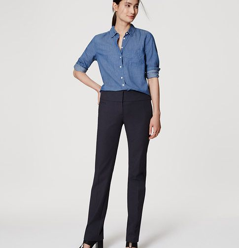 "Smooth and smart, our straight leg pants are an impeccably tailored wardrobe must. Your perfect fit if your hips are proportionate to your waist. Zip fly with hook-and-bar closure. Front welt pocket. Back welt pockets. 31"" inseam."