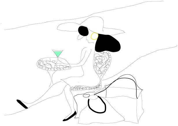 En dam och en drink
