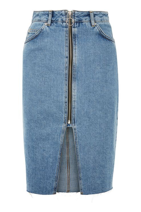 MOTO Zip Through Denim Midi Skirt