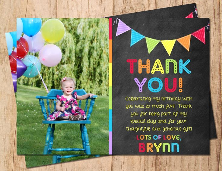 Chalkboard Photo Rainbow Bunting Birthday Thank You Card . Printable Thank You Note . JPEG or PDF File . Personalized by MoonshyneDesigns on Etsy https://www.etsy.com/listing/195938512/chalkboard-photo-rainbow-bunting