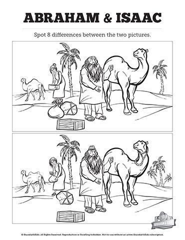 Story Of Jacob and Esau Kids Spot The Difference: Colorful, creative and a little silly your kids are going to really enjoy this story of Jacob and Esau kids spot the difference Sunday school activity. This printable kids activity page is built with the spectacular artwork of the Genesis 25-27 Jacob and Esau kids Sunday school Bible lesson. #hebrewlessonsforkids