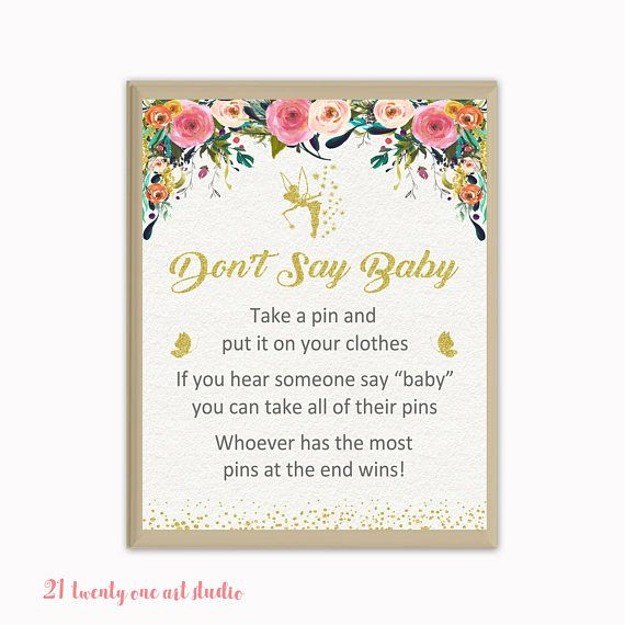 Fairy Don't Say Baby Game Floral Baby Shower Don't