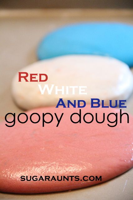 Red, White, and Blue goopy dough. This dough is the neatest sensory play! A combination of play dough and goop. #sensory #Independenceday #fourthofjuly #kids