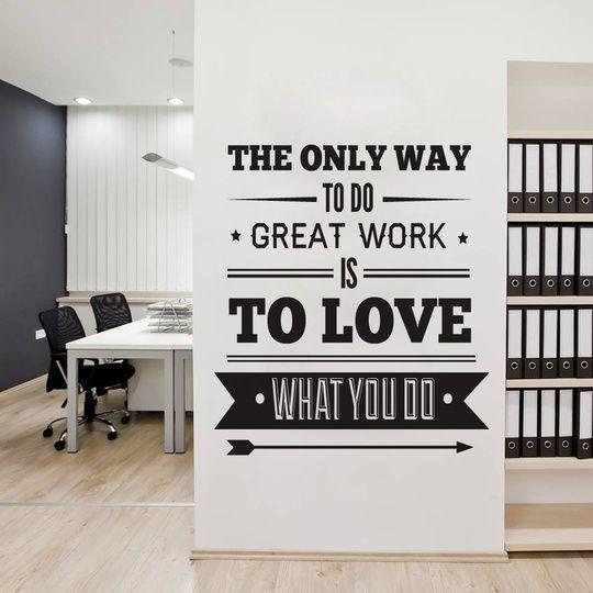 サイン office decor typography inspirational quote wall decoration art success quote the only way to do great work is to love what you do