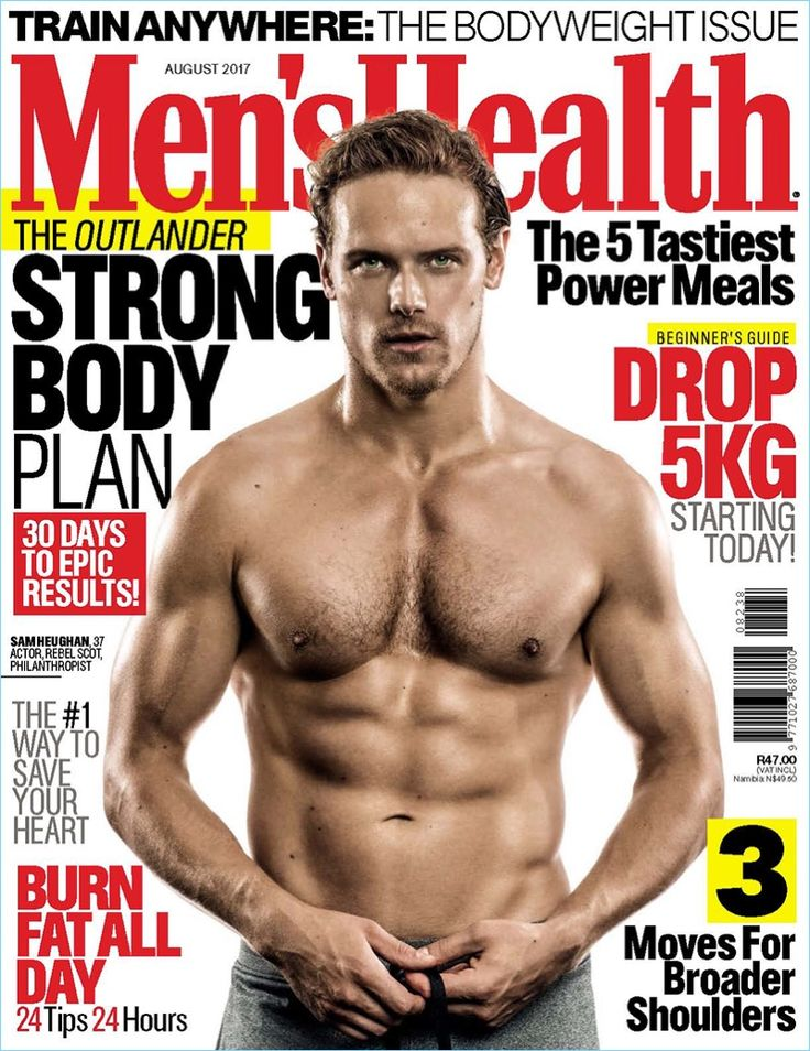 Sam Heughan covers the August 2017 issue of Men's Health South Africa.