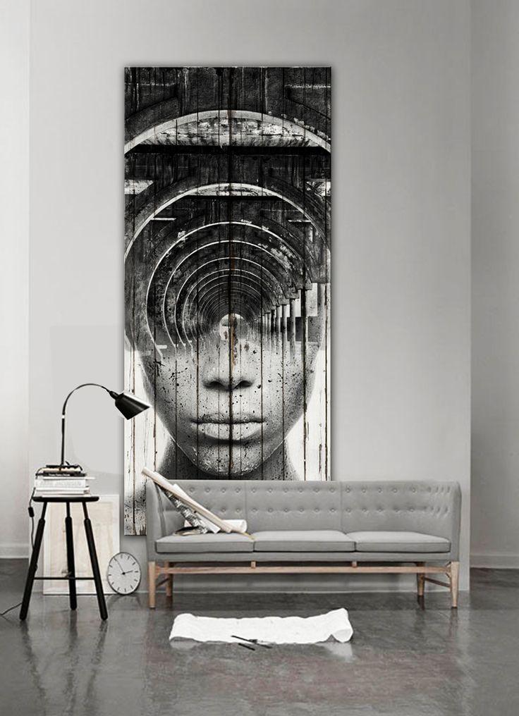 """Antonio Mora Artwork. _ """"Cyclops"""" , collage over old wood planks, 220x 90 cms.Para solicitar información: pil4r@routetoart.com"""