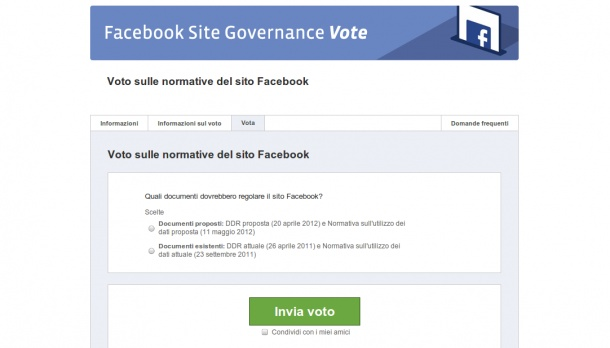 Facebook: vota le normative per la privacy fino all'8 giugno 2012