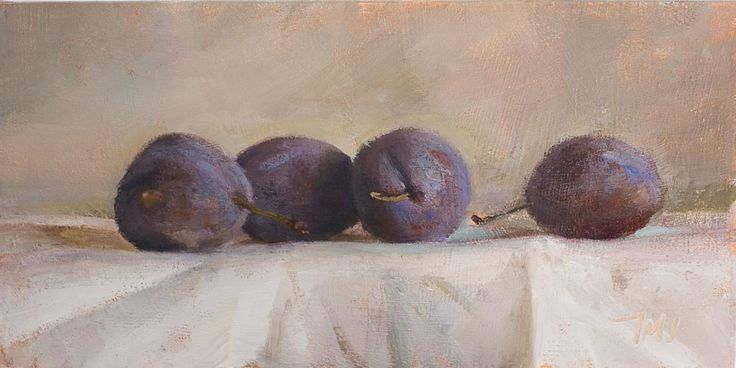 daily painting titled Plums on white cloth - click for enlargement