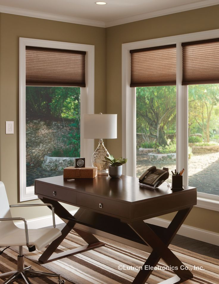 Multiple windows can be a hassle to adjust. Serena remote controlled shades  from Lutron can
