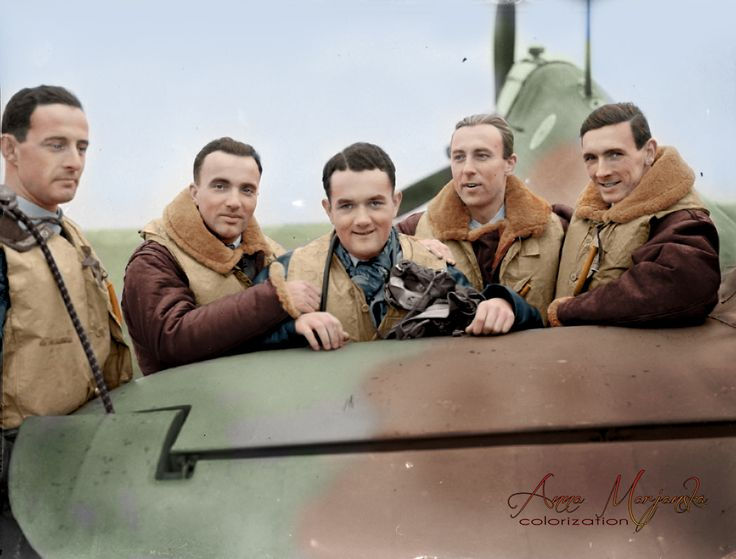 A group of pilots of No. 303 (Polish) Fighter Squadron RAF standing by one of their Hawker Hurricane Mark Is at RAF Leconfield in Yorkshire, 24 October 1940. Pictured from left to right are: Pilot Officer Miroslaw Feric, Flying Officer Bogdan Grzeszczak, Pilot Officer Jan Zumbach, Flying Officer Zdzislaw Henneberg and Flight Lieutenant John Kent, a Canadian who commanded 'A' Flight of the Squadron at that time.