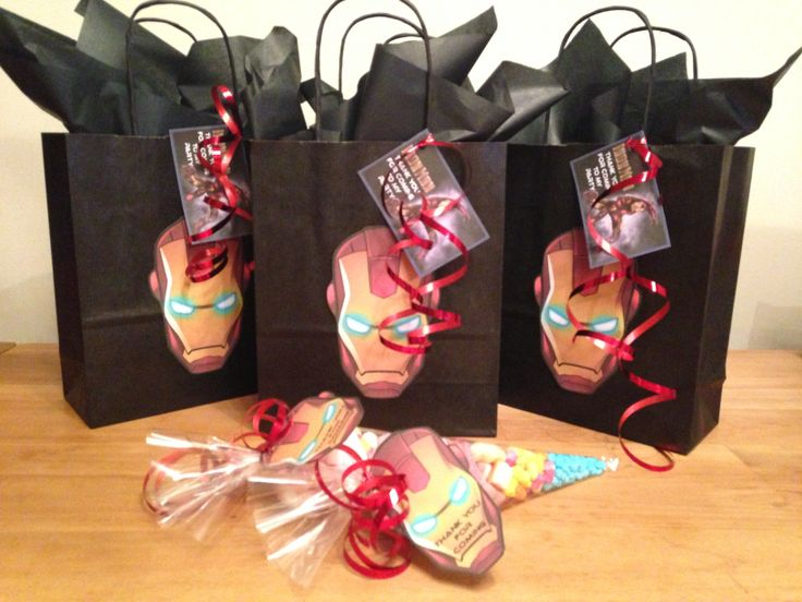Iron man party bags and matching sweetie cones Party bags for kids Find us on Facebook  Crofty75@aol.com 07799434226