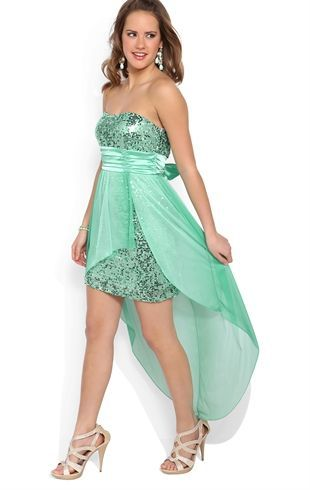 Deb Shops Strapless High Low #Prom #Dress with Sequin Bodice and Flyaway Skirt $76.90