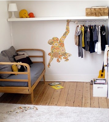 #kids #room with vintage wallpaper monkey