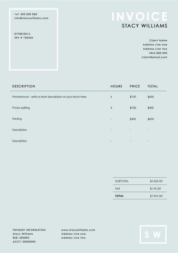 Photography Invoice Template Photography Receipt Ms Word And Photoshop Template Sleek Invoice Design In 2021 Invoice Design Photography Invoice Template Photography Invoice