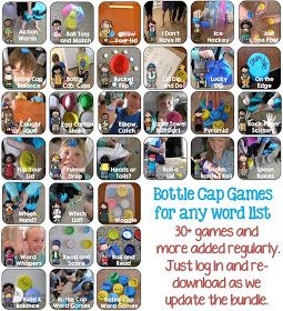 Clever Classroom: Bottle Cap Center Games for Any Word List Bundled