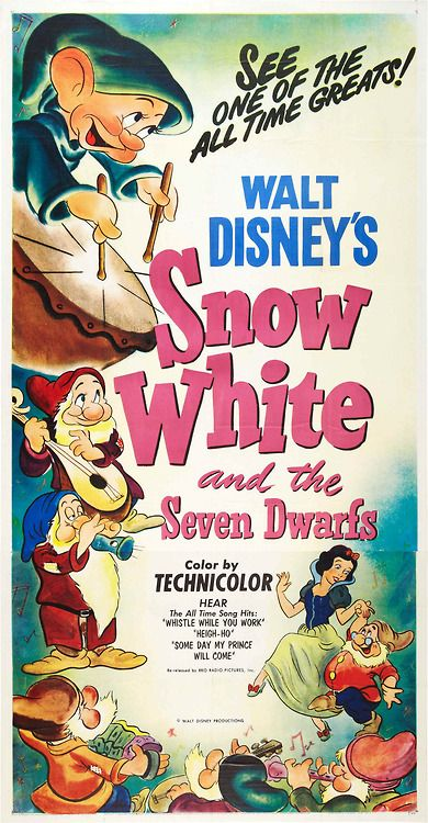 Drive-In Theater Of The Mind, Vintage Poster - Snow White And The Seven Dwarfs...