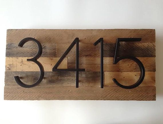 Custom Address Plaque made from Reclaimed by MadeWithBeerInHand | this could be in interesting way to display our house numbers beside the front door.