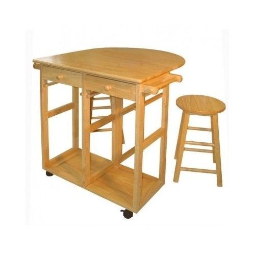 Natural Wood Kitchen Island Set Stool Wheels Rolling