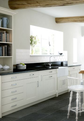 Slate kitchen floor photos with white cabinets white for Slate kitchen floors with white cabinets