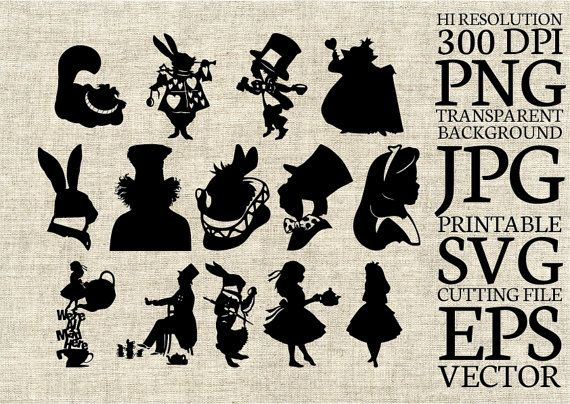 Alice in Wonderland Disney silhouette SVG File size, Digital Clipart editable vector