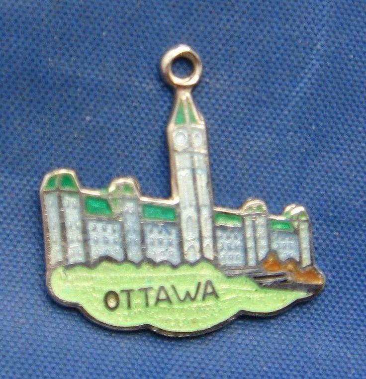 Vintage Silver & Enamel OTTAWA Canada Travel Souvenir Charm marked BMCo STERLING