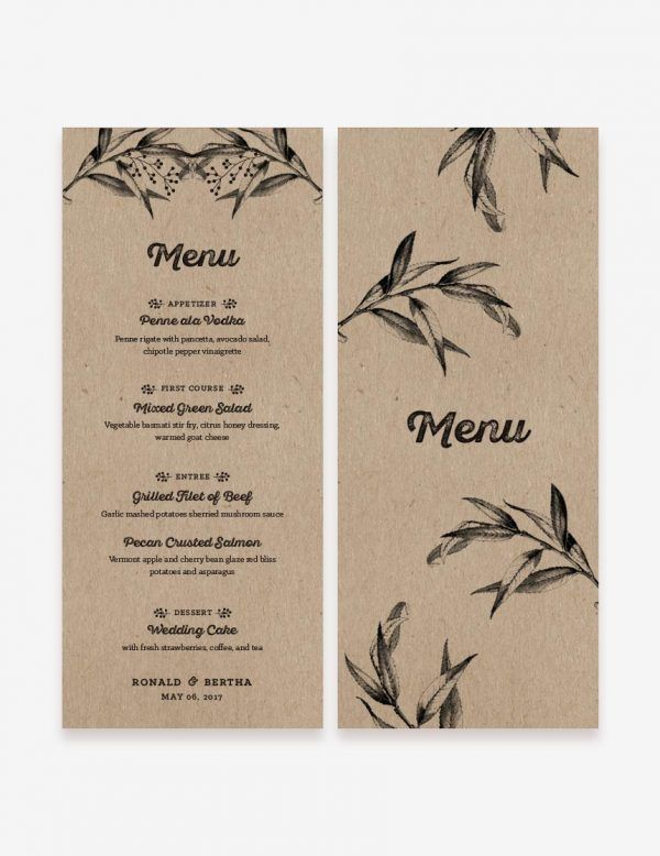 DIY rustic wedding menu design. Rustic reception decoration. Get this printable design at www.inatondesign.com