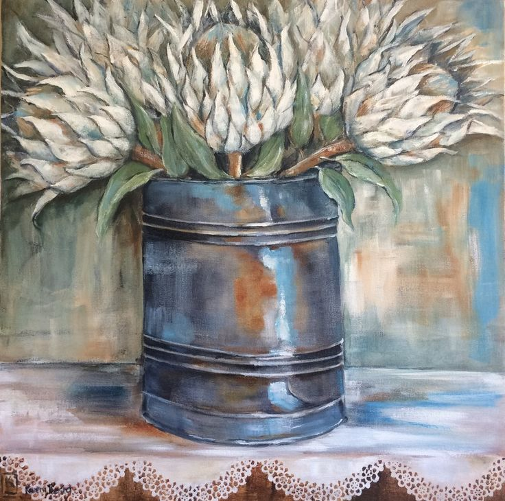 White Proteas in a Tin by Kareni Bester