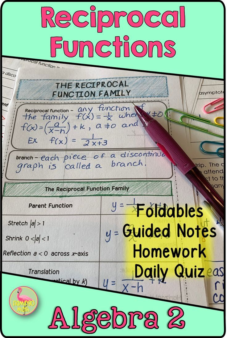 Reciprocal Functions Algebra 2 Unit 8 Functions Algebra Rational Function Math Interactive Notebook [ 1095 x 736 Pixel ]