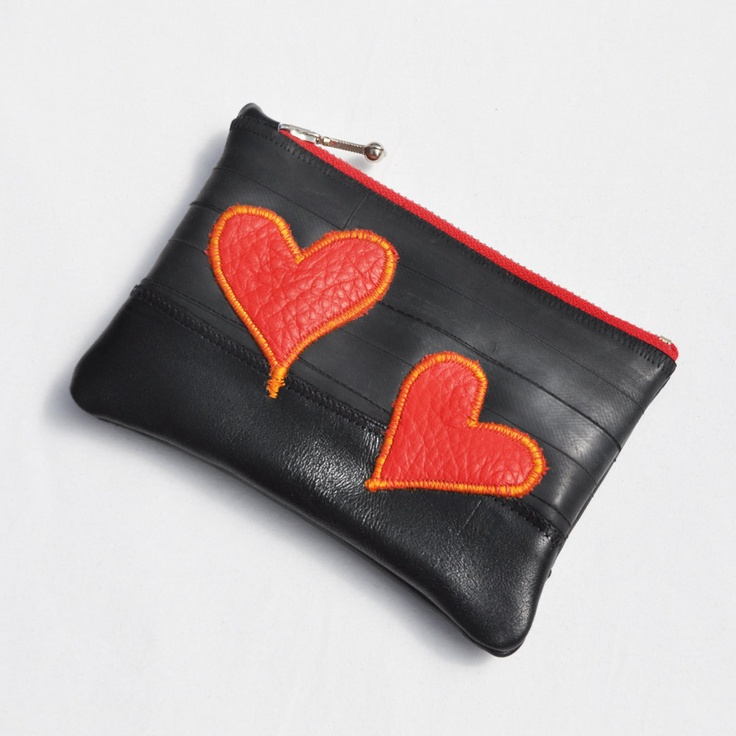 Pouch made from upcycled bike inner tubes and leather scraps. $30.00, via Etsy.