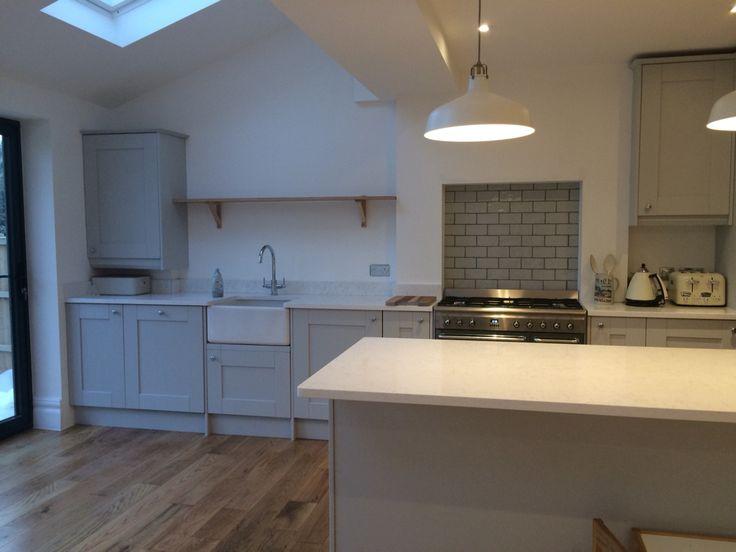 Benchmarx Grey Kitchen Quartz Worktop Oak Flooring Open