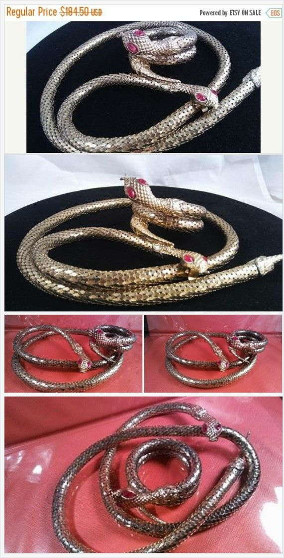 Now On Sale Vintage Gold #Metal #Mesh #Snake Necklace or Belt Retro #Rockabilly Glamour Girl Style Accessories Mad Men Mod #Serpent #Cobra #Python #big #chunky #runway #animal #statement #necklace #belt #bracelet #red #rhinestone #eyes #shopvintage #vintageshop #martini #mermaid https://www.etsy.com/MartiniMermaid/listing/567441023/now-on-sale-vintage-gold-metal-mesh?ref=shop_home_active_4