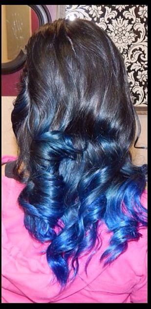 Black hair with blue tips.. Curled long hair | Long Hair ...