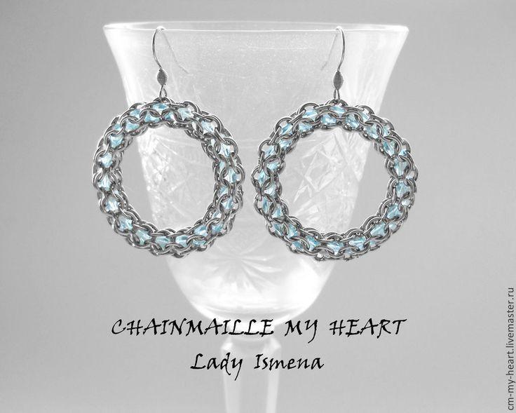 "Купить Серьги из серии ""Звёздные Врата"" (голубой) - голубой, chainmaille, chainmaille my heart"
