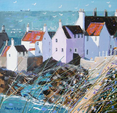 Deborah Phillips_Morning Sunlight Pittenwee_Hand Embellished Signed Limited Edition_15x15 l Scottish Contemporary Art