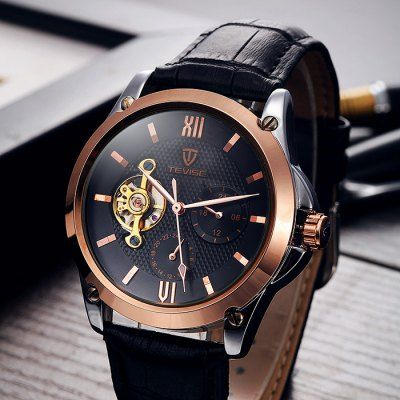 Tevise Men Tourbillon Design Automatic Mechanical Watch with Leather Band-20.55 Online Shopping  GearBest.com
