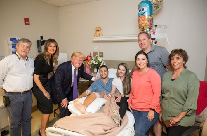 President Donald J. Trump and First Lady Melania Trump visit with patient Michael McDaniel of Las Vegas, and members of his family, Wednesday, October 4, 2017, at the University Medical Center of Southern Nevada, who was injured in the mass shooting, Sunday, October 1, 2017, in Las Vegas, Nevada.